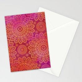 Mandala Watercolor Pattern pink orange Stationery Cards