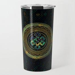 Marble and Abalone Endless Knot  in Mandala Decorative Shape Travel Mug