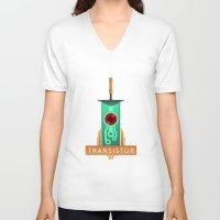 transistor V-neck T-shirts featuring Transistor [2] by Spiritius