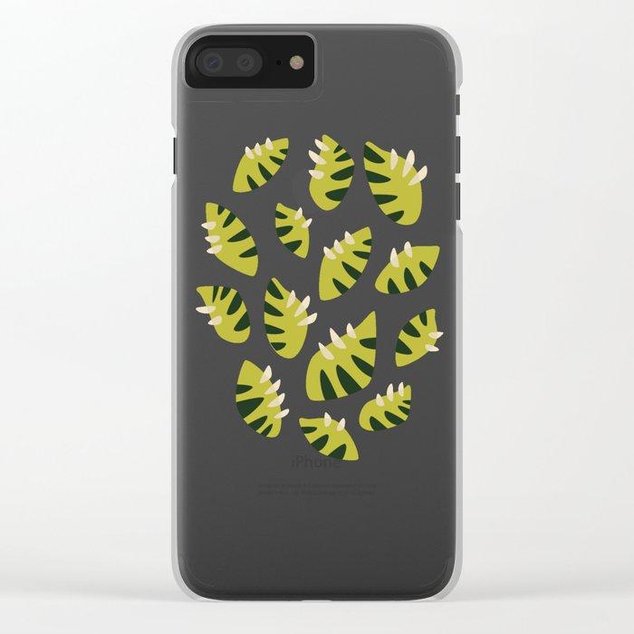 Pretty Clawed Green Leaf Pattern Clear iPhone Case