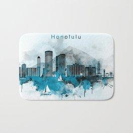 Honolulu Monochrome Blue Skyline Bath Mat