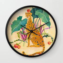 Cheetah and Apples Wall Clock