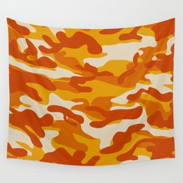 Orange Military Camouflage Pattern Wall Tapestry