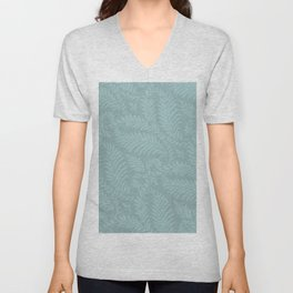Fancy Light Blue Leaves Scroll Damask on Dark Turquoise Unisex V-Neck