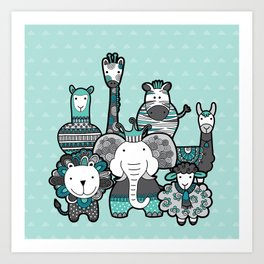 Doodle Animal Friends Aqua & Grey Art Print