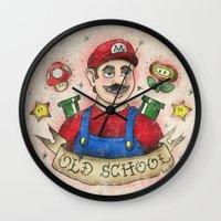 mario kart Wall Clocks featuring Old School Mario Tattoo by 84Nerd