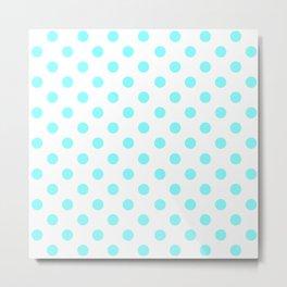 Polka Dots (Aqua & White Pattern) Metal Print