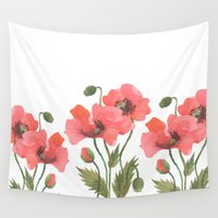 poppies Wall Tapestries featuring POPPIES by Oana Befort