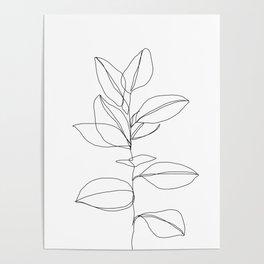 One line plant illustration - Dany Poster