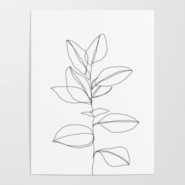 One line plant illustration - Dany Poster