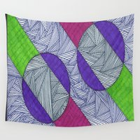 lime green Wall Tapestries featuring Magenta-Lime Green by Sarah J Bierman