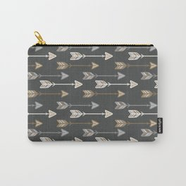 Neutral Tribal Arrows Pattern - Brown Gray Carry-All Pouch