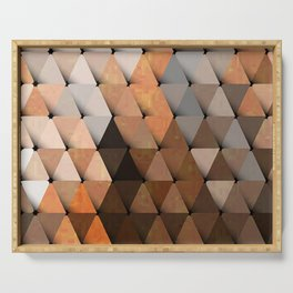 Triangles Brown Gray Serving Tray