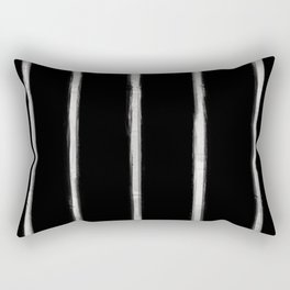 Skinny Strokes Gapped Vertical Off White on Black Rectangular Pillow