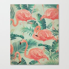 Flamingo Pattern on Mint Green - Kitschy Playful Tropical Palm Leaves Canvas Print