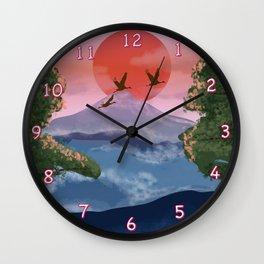 The flight of the cranes Wall Clock