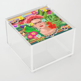 Frida Kahlo Floral Exotic Portrait Acrylic Box
