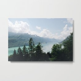 Photo of the view over Lake Brienz (the Brienzersee), Suisse | Colorful travel photography | Metal Print