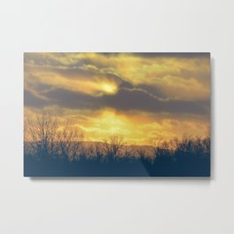 Sunset Clouds & Trees Metal Print