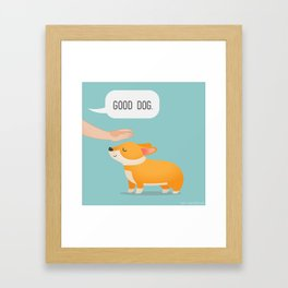 Good Dog, Corgi Framed Art Print