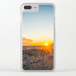 The bay of Montecarlo Monaco at sunset from Cap Martin in a sunny winter day Clear iPhone Case