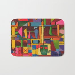 Colors In Collision 1 - Geometric Abstract of Colors that Clash Bath Mat