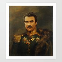 tom selleck Art Prints featuring Tom Selleck - replaceface by replaceface