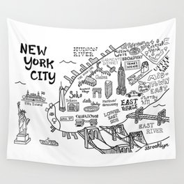 New York City Map Wall Tapestry
