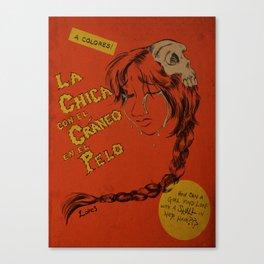 La Chica con el Craneo en el Pelo: The Girl With a Skull In Her Hair Canvas Print