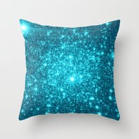 turquoise Throw Pillows featuring Turquoise Teal Sparkle Stars by WhimsyRomance&Fun