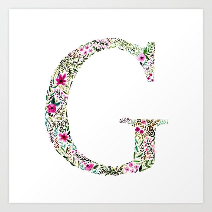 Letter Art Print.G Floral Letter Art Print By Sarahscript
