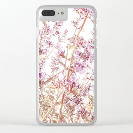 Soft Pink Wild Summer Flowers Clear iPhone Case