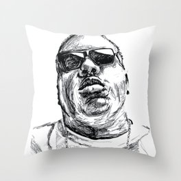Digital Drawing 33 - Notorious B.I.G. Black and White Throw Pillow