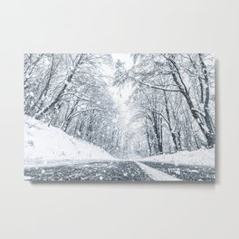 Winter forest snow road. Forest road winter snow view. Metal Print