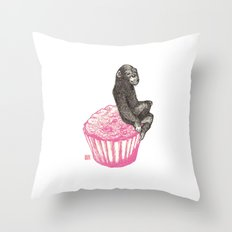 Muffin Monkey Throw Pillow