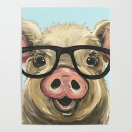 Cute Pig Painting, Farm Animal with Glasses Poster
