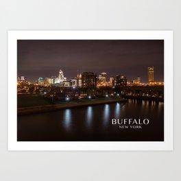 Buffalo, NY Skyline at Night Art Print