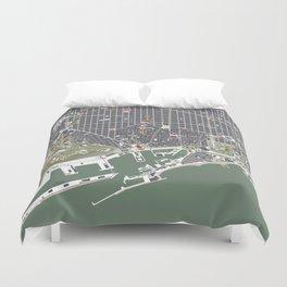 Barcelona city map engraving Duvet Cover