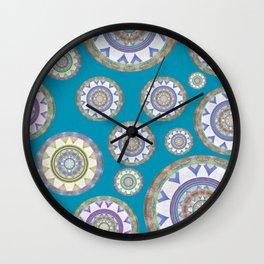 Elegant Turquoise Vintage Mandala Boho Stamp Print Wall Clock