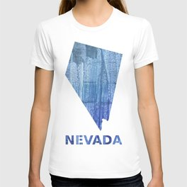 Nevada map outline Steel blue clouded wash drawing paper T-shirt
