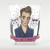 smiths Shower Curtains featuring How Soon Is Meow? by MonikaSpook
