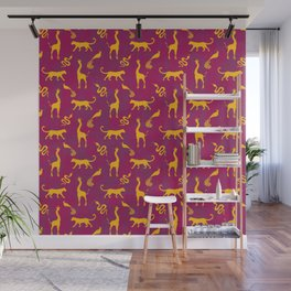 Animal universe. Yellow silhouettes of wild animals. African giraffes, leopards, cheetahs. snakes, exotic tropical birds. Tribal ethnic nature magenta dark red distressed pattern. Wall Mural