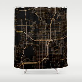 Black and gold Orlando map Shower Curtain