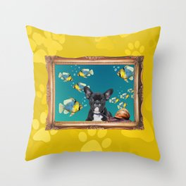 French Bulldog in Frame with Fishes and snail - yellow Throw Pillow