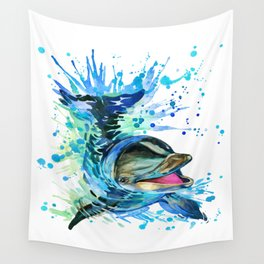 Watercolor Dolphin Wall Tapestry