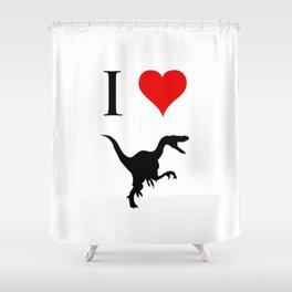 I Love Dinosaurs - Velociraptor Shower Curtain
