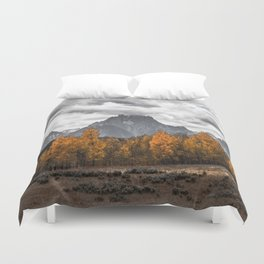 Teton Fall - Autumn Colors and Grand Tetons in Black and White Duvet Cover