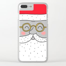 Happy Santa Claus face. Merry Christmas and Happy New Year! Clear iPhone Case