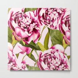Peonies on a pastel pink background - #Society6 #buyart Metal Print