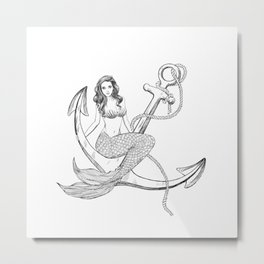 Mermaid and anchor Metal Print